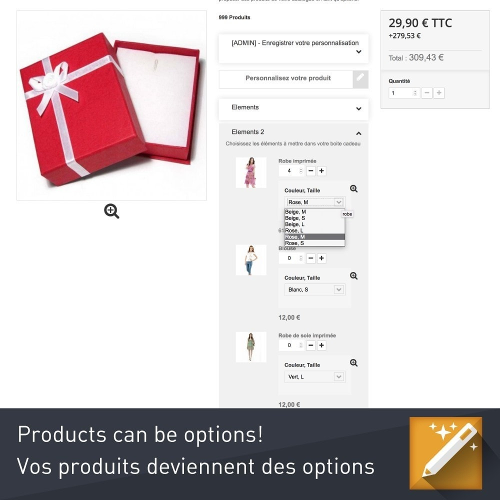 module - Déclinaisons & Personnalisation de produits - Personnalisation , packs et options de produits - 7