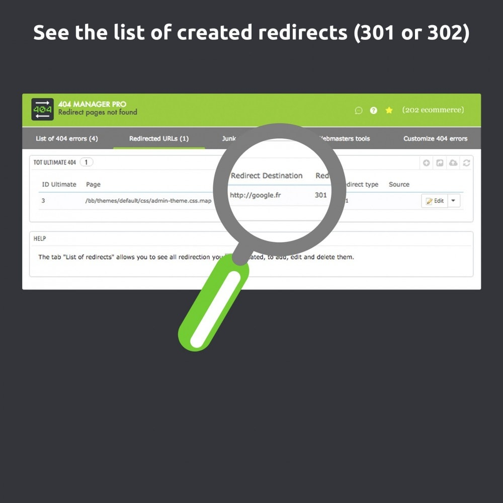 module - Gestão de URL & Redirecionamento - Redirect 404 manager pro: Show and redirect 301 302 - 6