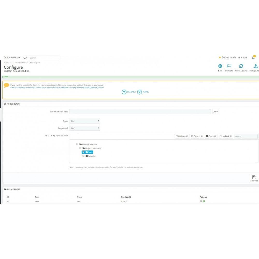 module - Combinaciones y Personalización de productos - Massive Custom Fields Evolution - 5