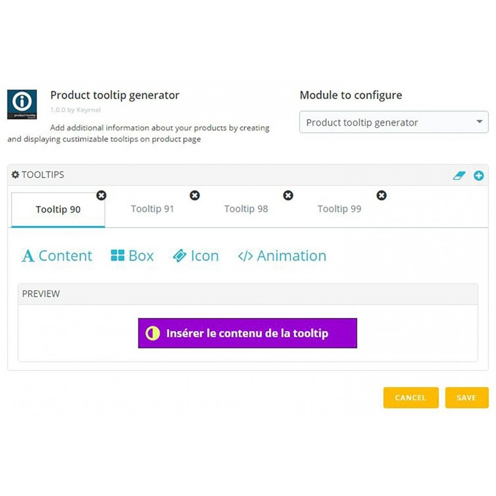 module - Informaciones adicionales y Pestañas - Product tooltip generator - 1