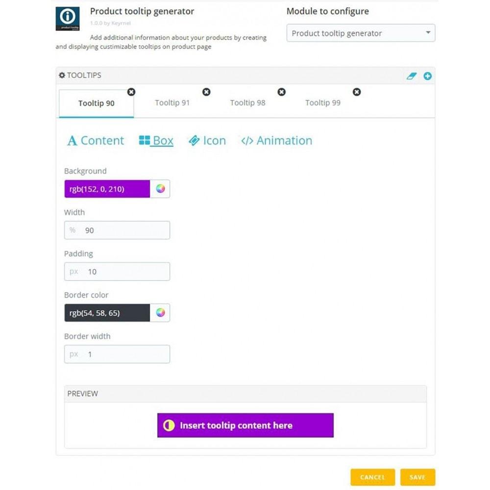module - Informaciones adicionales y Pestañas - Product tooltip generator - 3