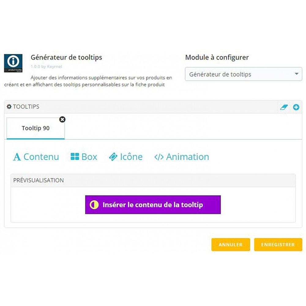 module - Information supplémentaire & Onglet produit - Générateur de tooltips - fiche produit - 1