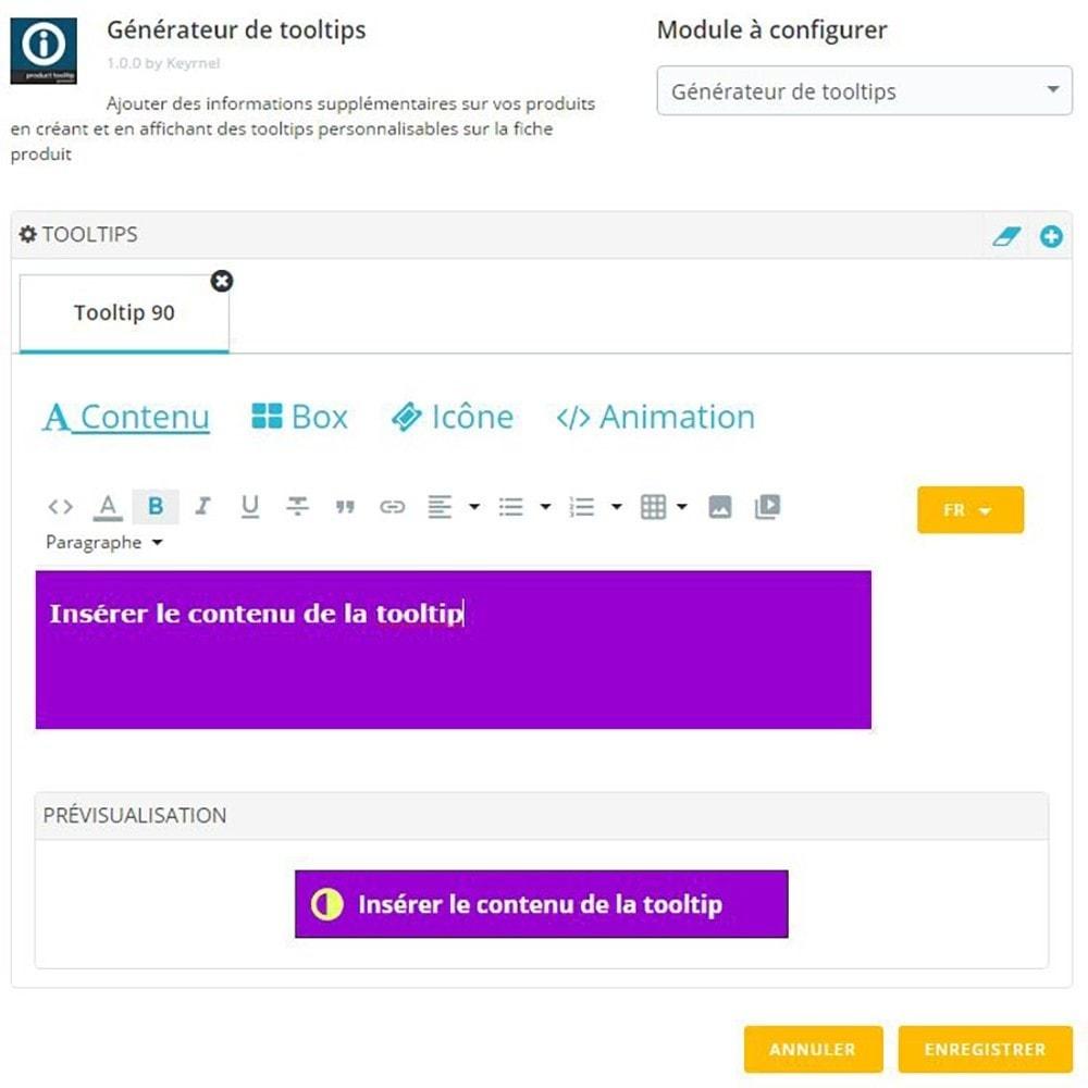 module - Information supplémentaire & Onglet produit - Générateur de tooltips - fiche produit - 2