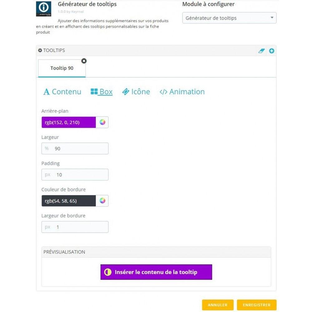 module - Information supplémentaire & Onglet produit - Générateur de tooltips - fiche produit - 3