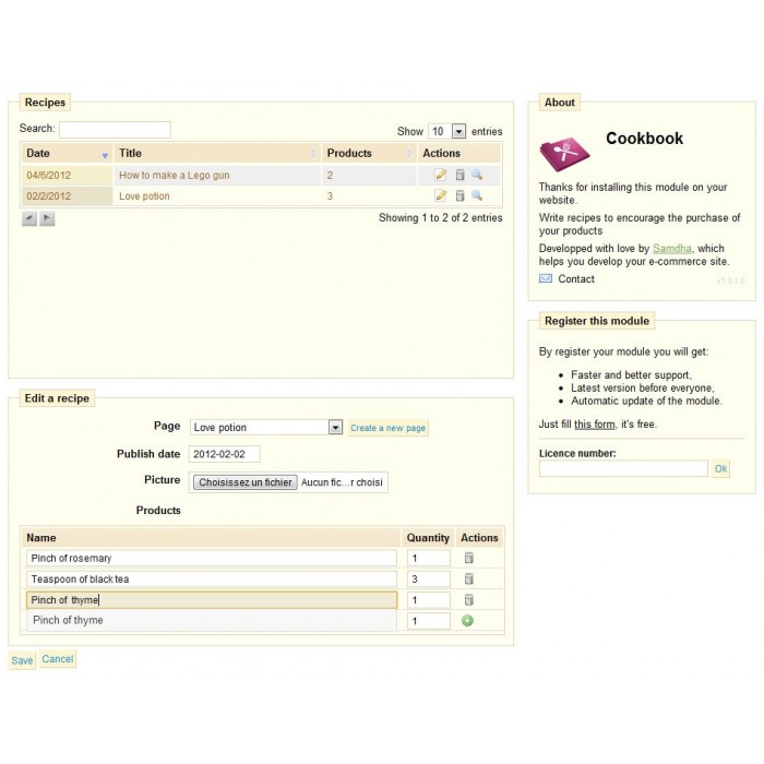 module - Front-Office-Funktionen - Recipe CMS + products list - 3