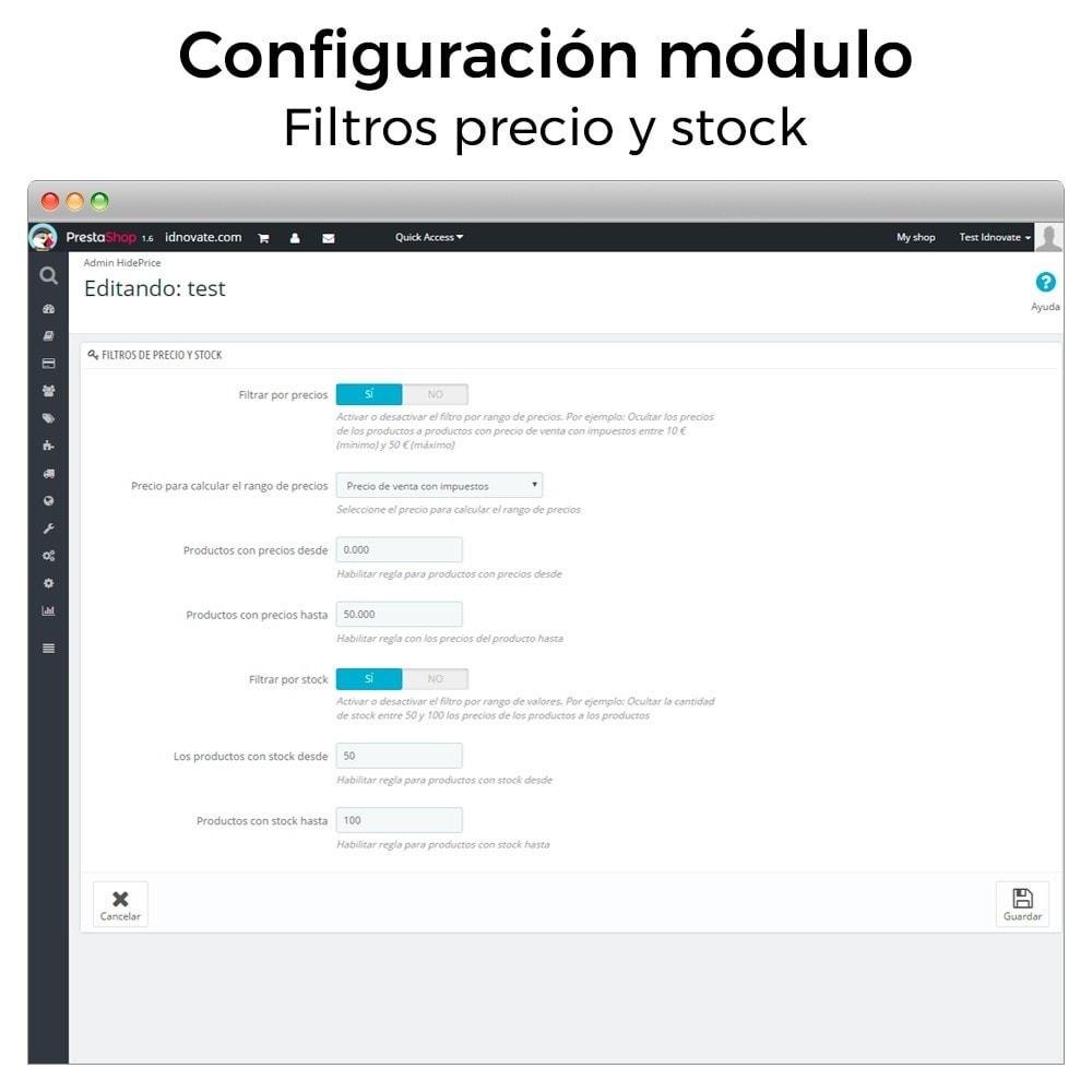 module - Gestión de Precios - Ocultar precio y desactivar la compra de productos - 3