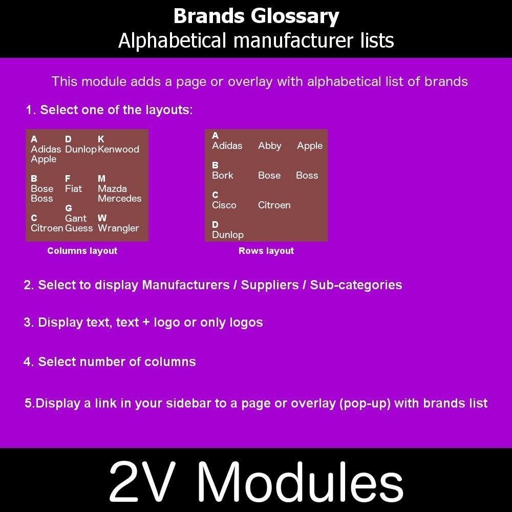 module - Brands & Manufacturers - Brands glossary ABC / alphabetical manufacturer list - 1
