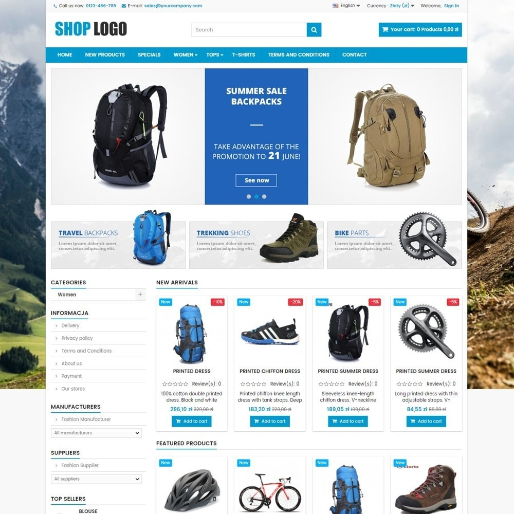 theme - Sport, Loisirs & Voyage - P16AT03 Bikes, sport and travel store - 1