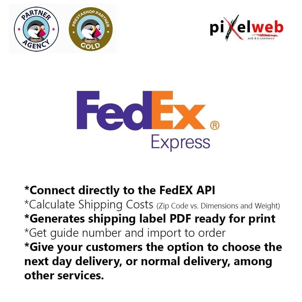 module - Vervoerder - FedEx Pro : PDF Label + Shipping Number + Online costs - 1