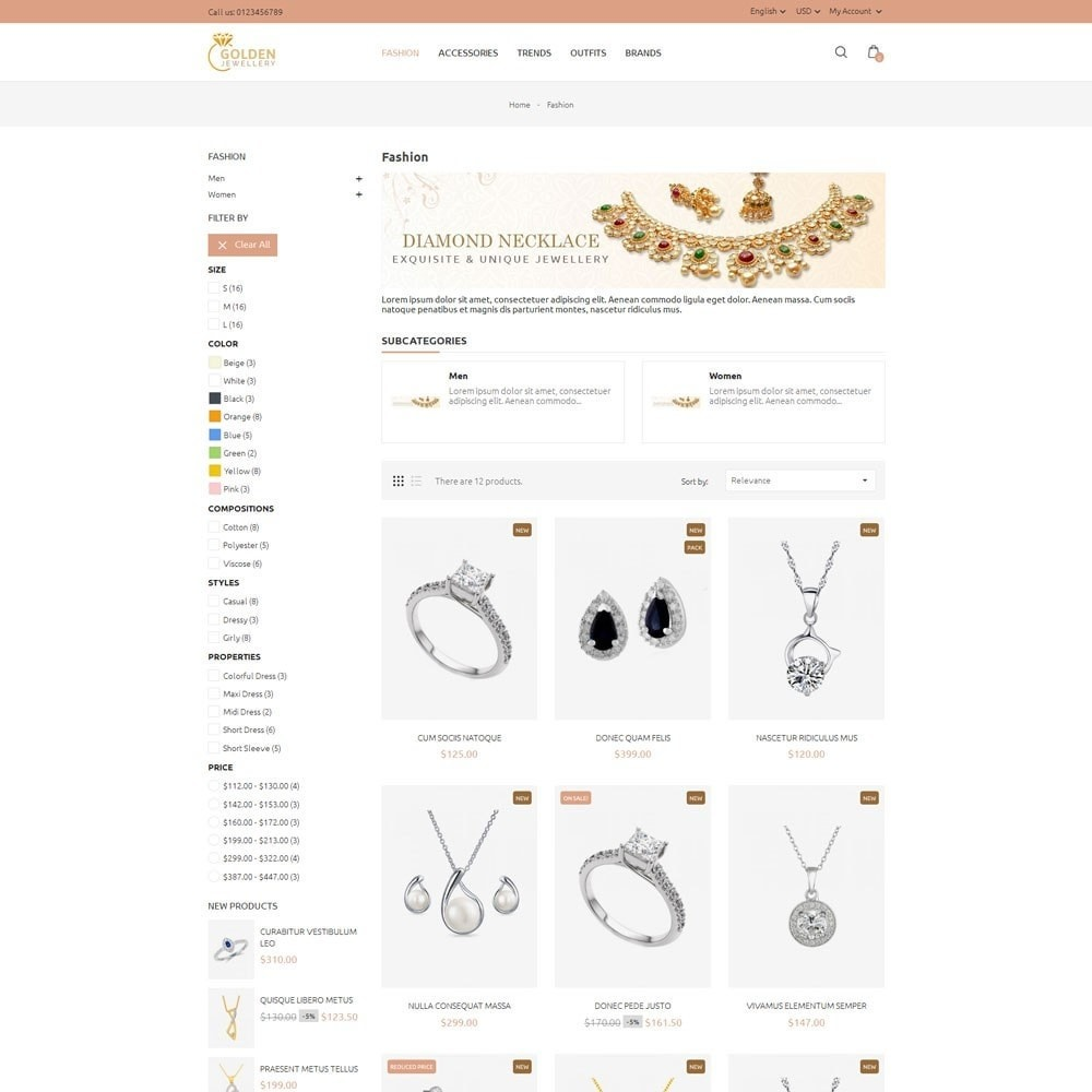 theme - Bellezza & Gioielli - Golden Jewellery Store - 3