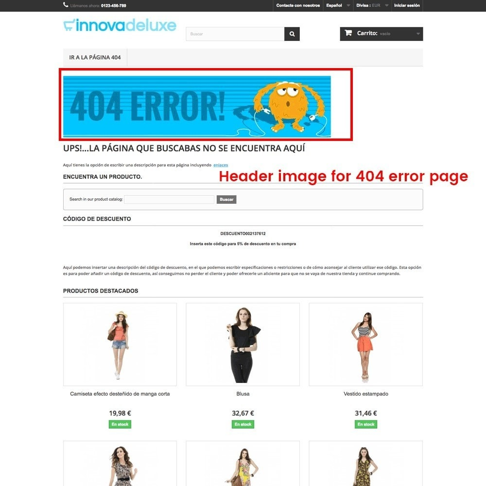 module - URL & Redirects - Customization of the 404 error page - 25