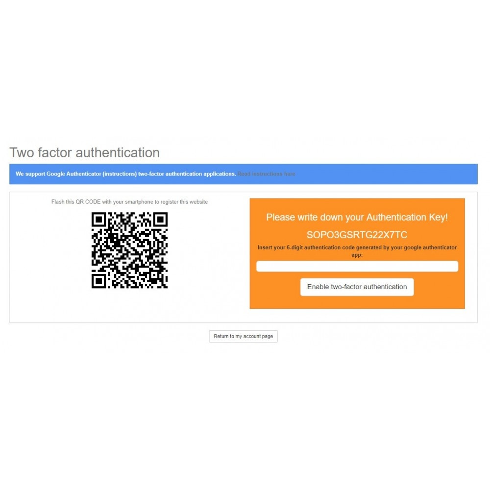 module - Login & Verbinden - Google Authenticator (2FA) - 3