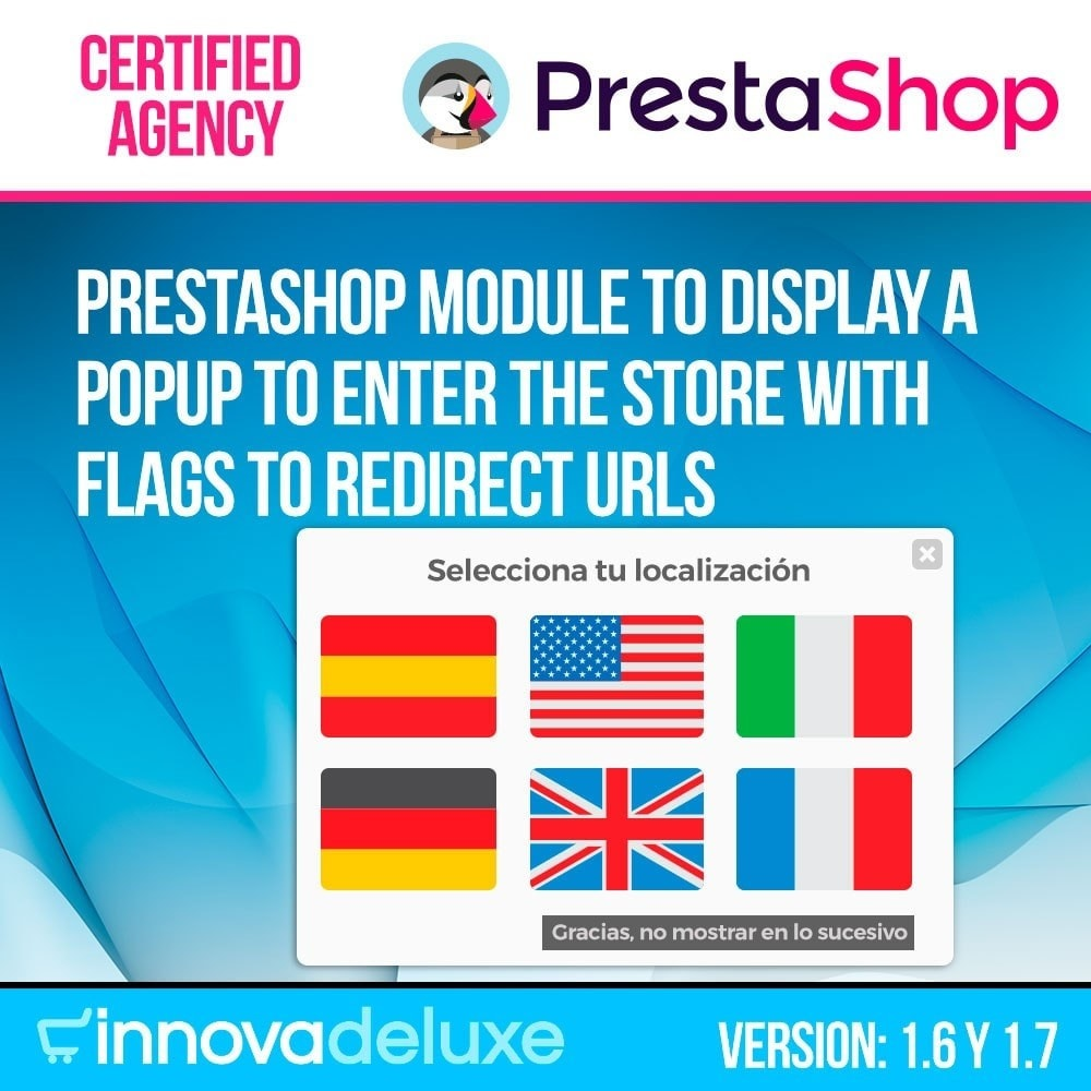module - URL & Omleidingen - Popup with flags to redirect to other webs - 1