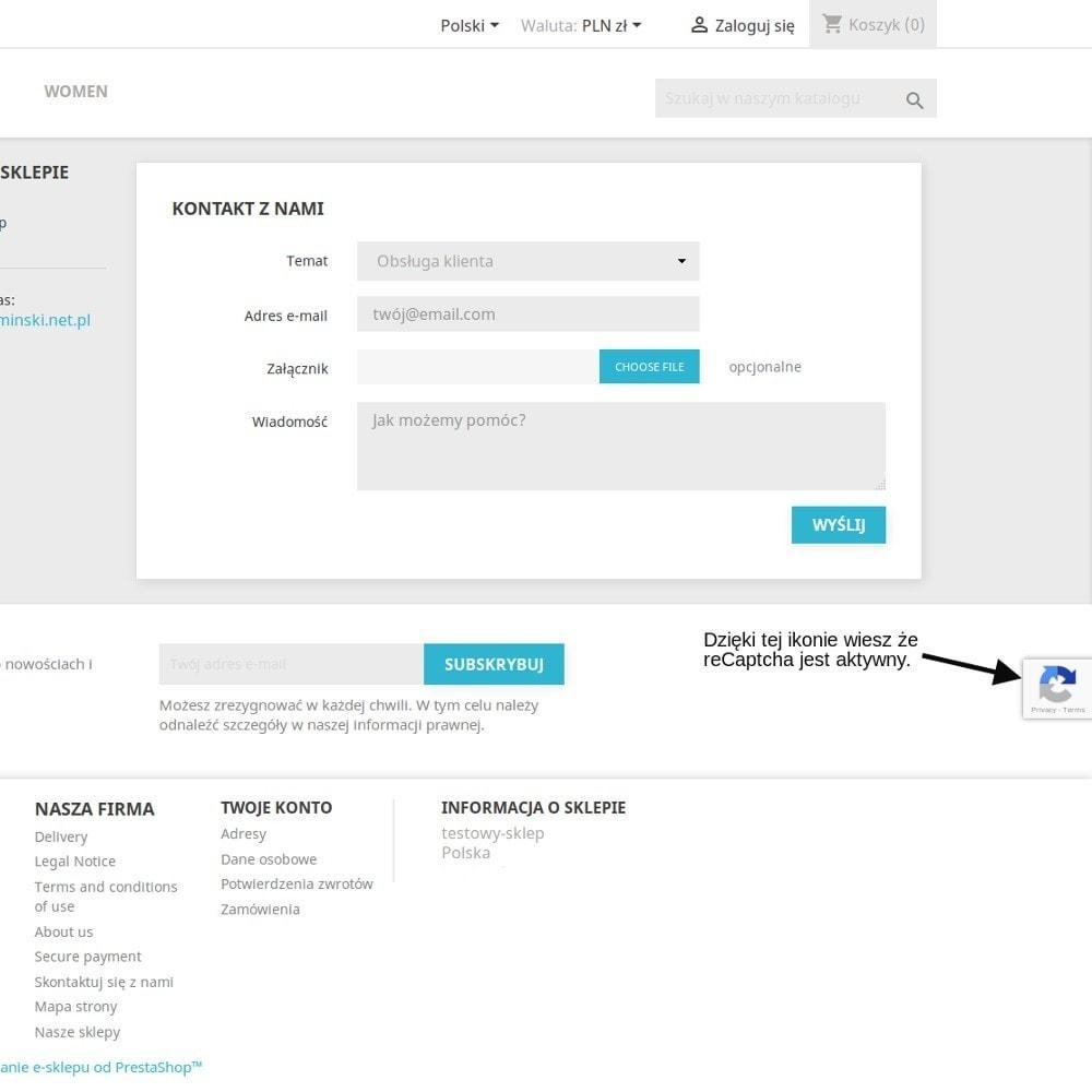 module - Bezpieczeństwa & Dostępu - Niewidzialny Re CAPTCHA - 3
