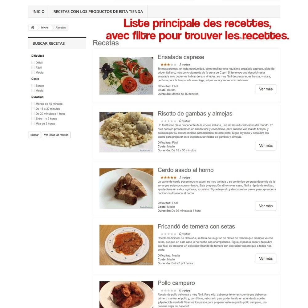 module - Blog, Forum & Actualités - Gestionnaire de recettes avec des produits magasin - 31