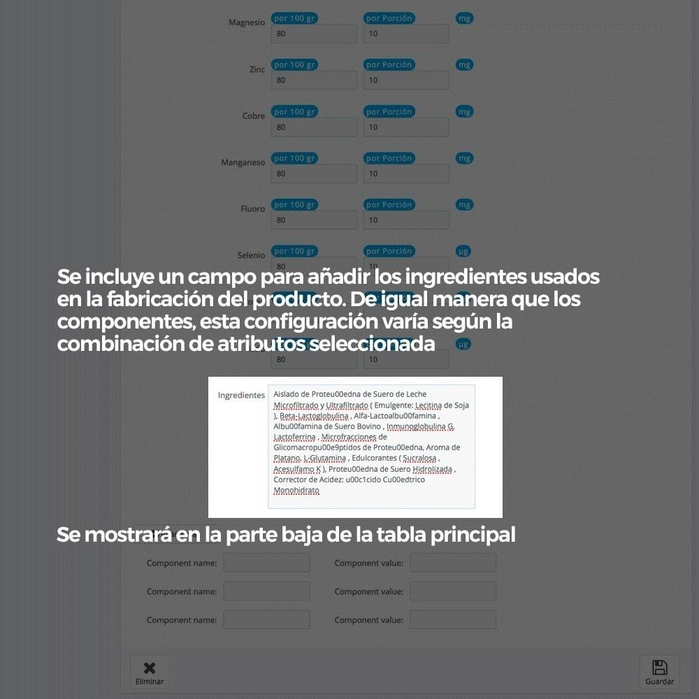 module - Informaciones adicionales y Pestañas - Información nutricional de los productos - 11