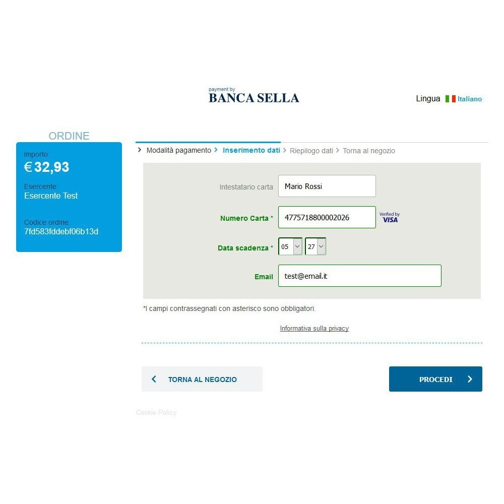 module - Pagamento con Carta di Credito o Wallet - GestPay - Banca Sella - 2