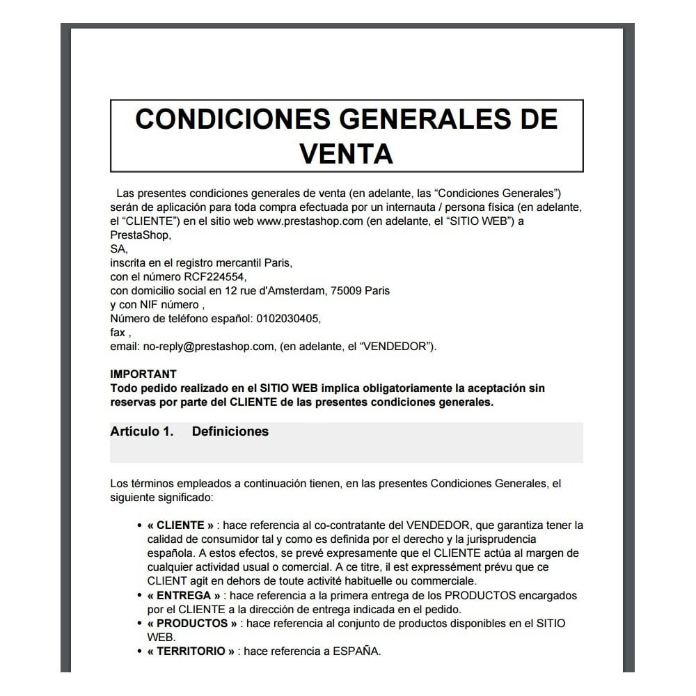pack - De aanbiedingen van dit moment: bespaar geld! - Custom Terms and Conditions for Spain + Cookie Policy Banner (Pack) - 10