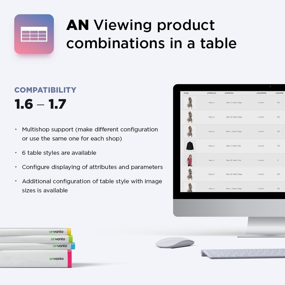 module - Bijkomende Informatie - AN Display product combinations in a table - 1