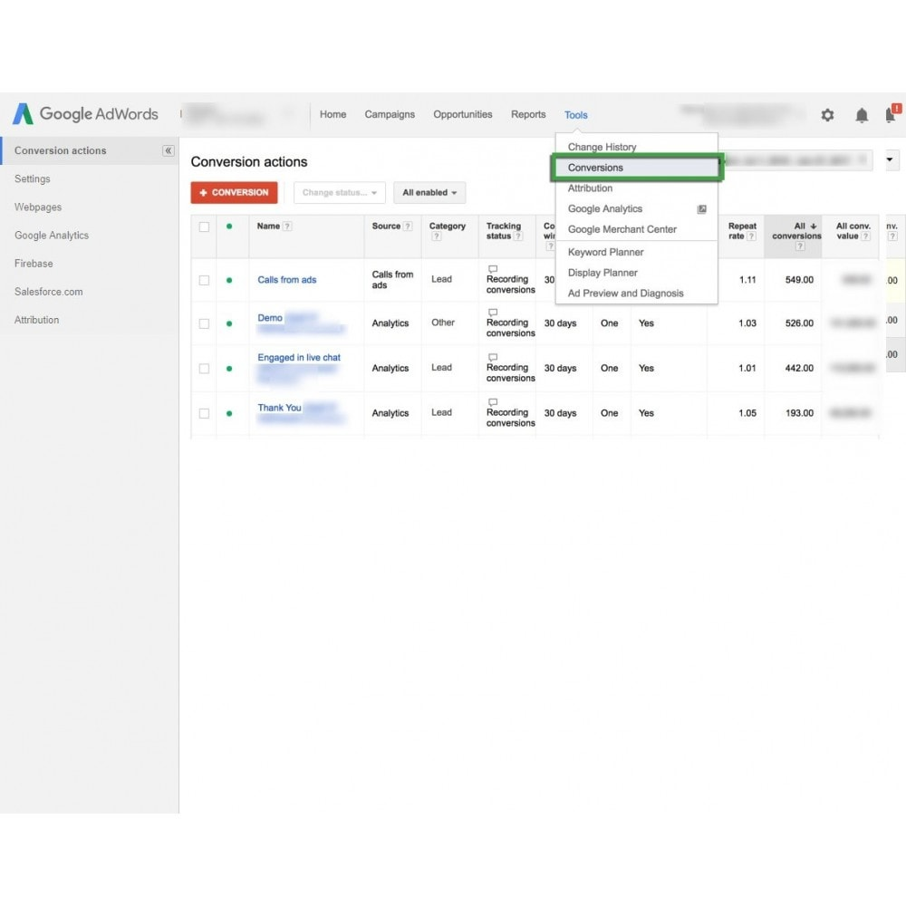 module - Análises & Estatísticas - Google Adwords Conversion Tracking - 3