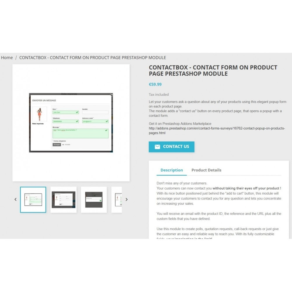 module - Formulário de contato & Pesquisas - ContactBox: Customizable Contact Form for Products - 2