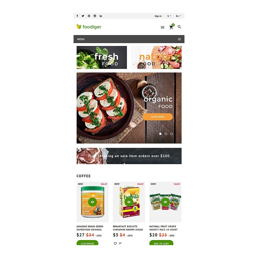 theme - Alimentos & Restaurantes - Foodiger - Grocery Store - 7