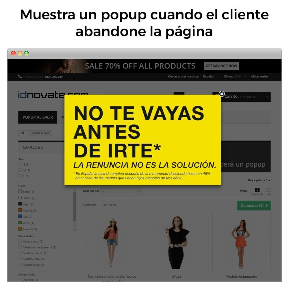 module - Pop-up - Popup al entrar, salir, añadir producto y newsletter - 4