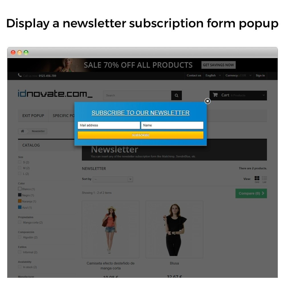 module - Pop-up - Popup on enter, on exit, when add to cart, newsletter - 6