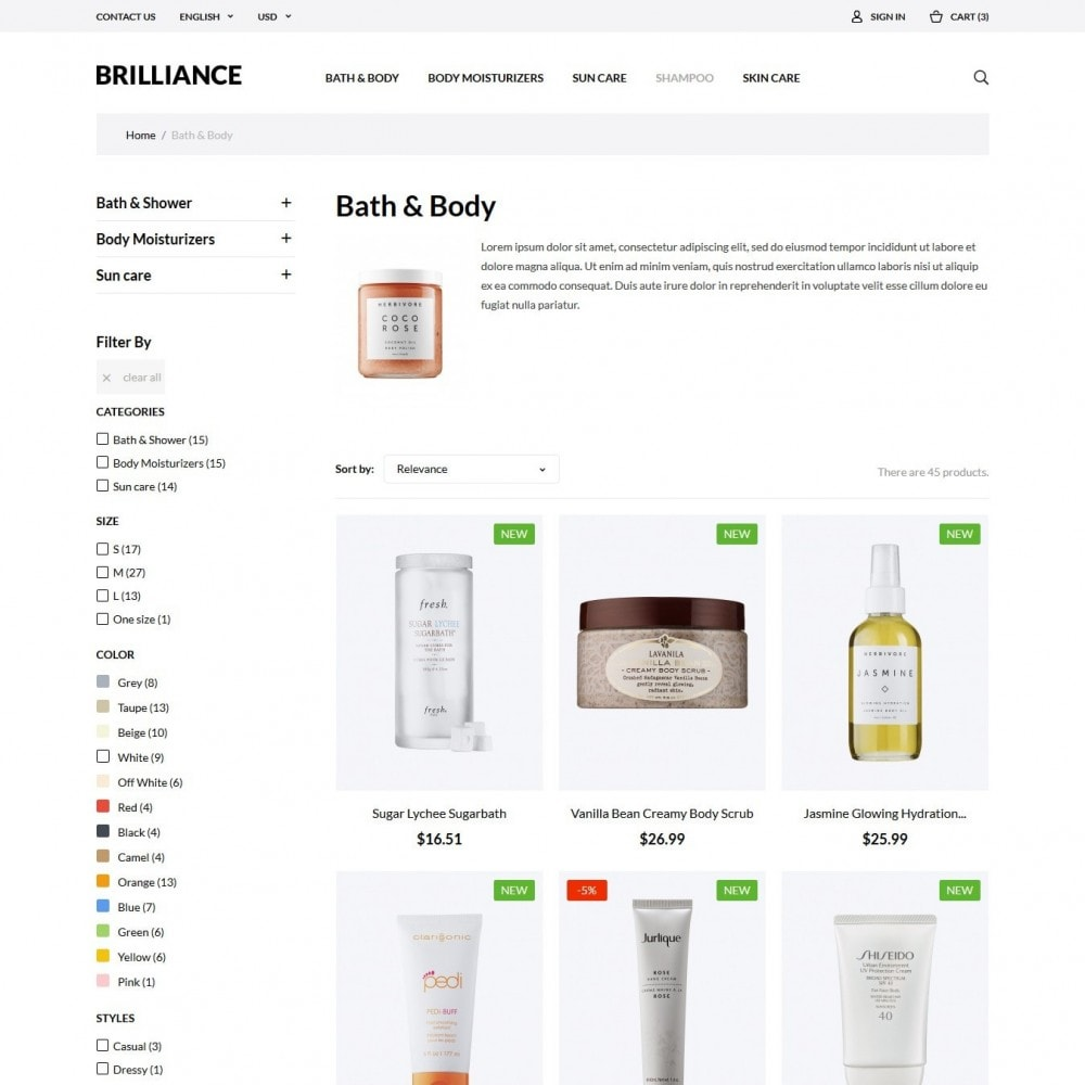 theme - Health & Beauty - Brilliance Cosmetics - 4