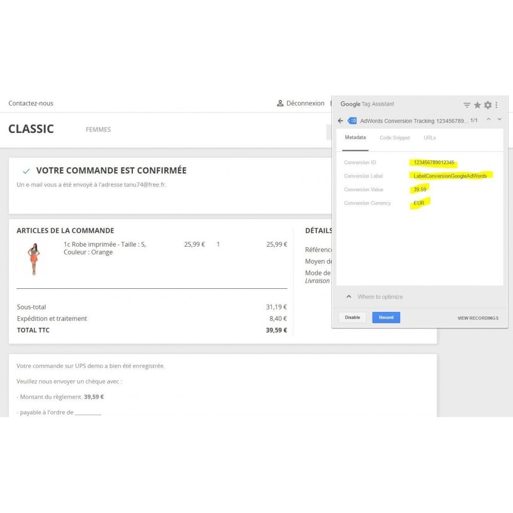 module - Informes y Estadísticas - Conversion Tracking Codes for Google AdWords - 2