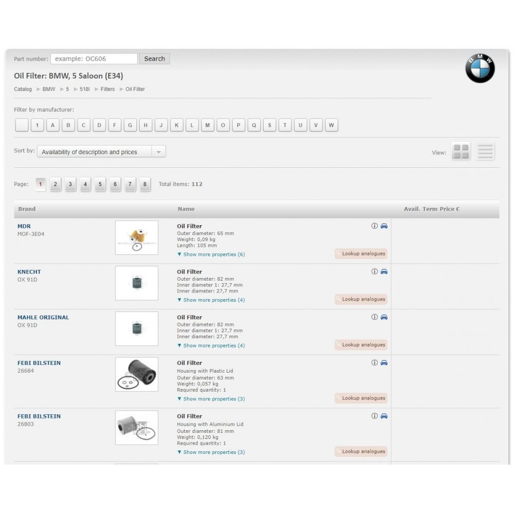module - Edition rapide & Edition de masse - iTecDoc car parts search module  Web-catalog - 6