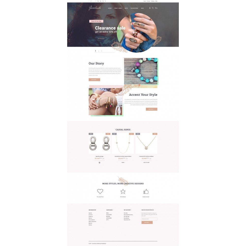 theme - Мода и обувь - White Jewelry PrestaShop Template by Jetimpex - 3
