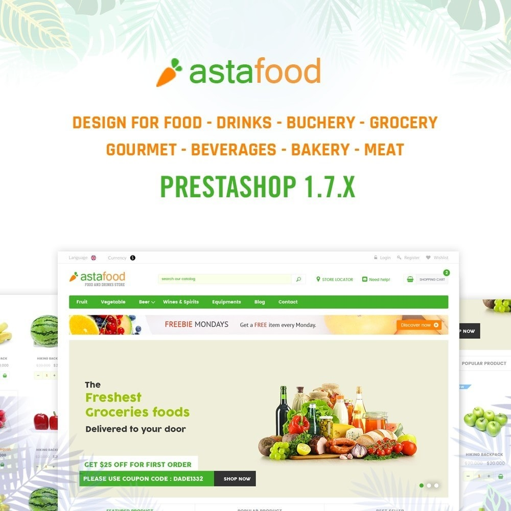 theme - Продовольствие и рестораны - Grocery, Gourmet, Meat, Beverages, Food, Drinks Store - 1