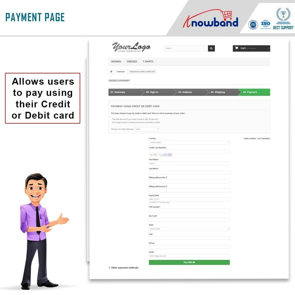 module - Zahlung per Kreditkarte oder Wallet - Knowband - Paypal Direct Payment - 4