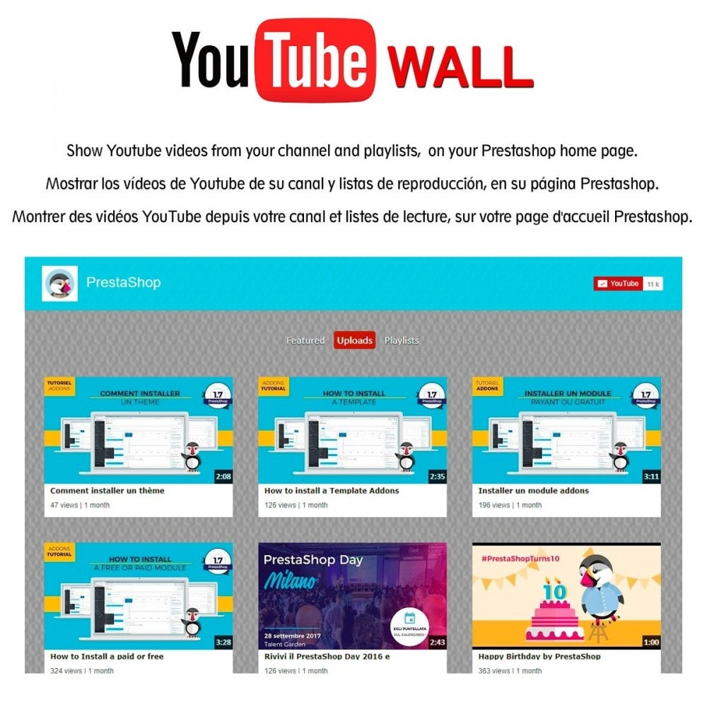 module - Social Widget - Youtube Wall - 1