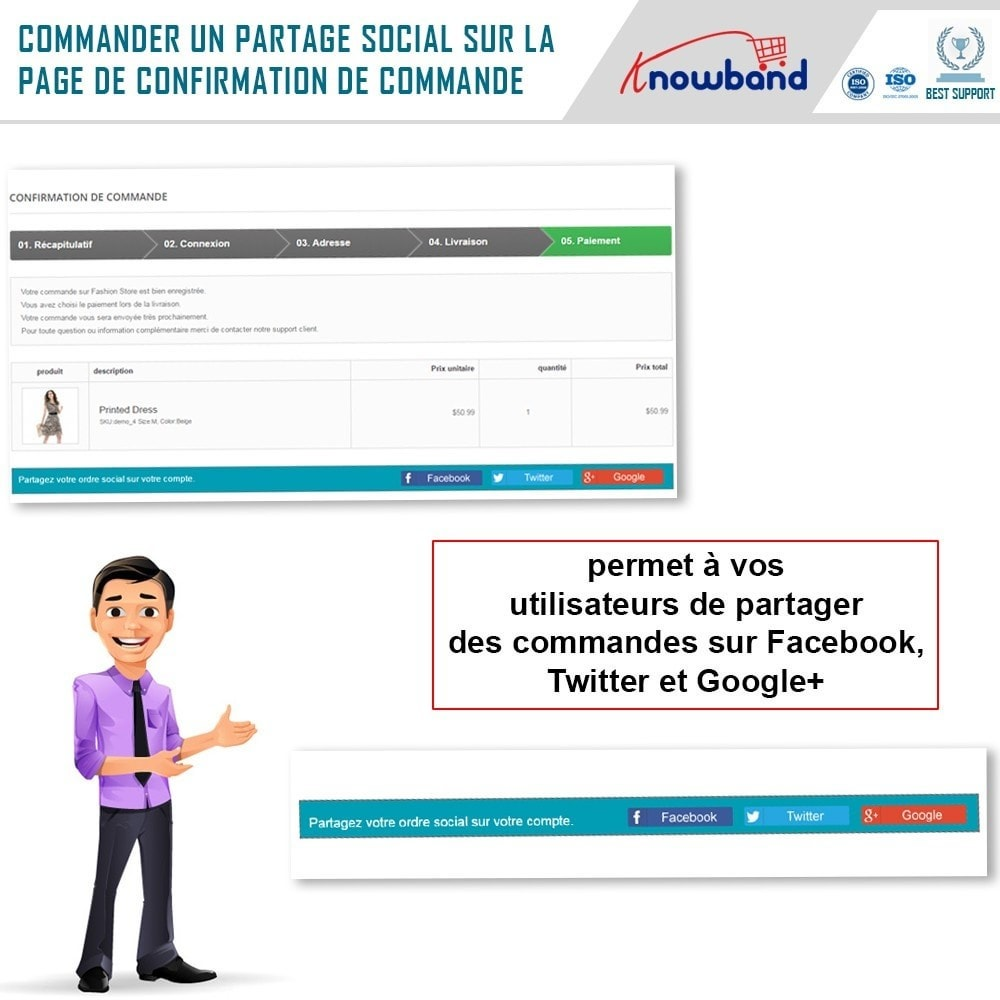 module - Boutons de Partage & Commentaires - Knowband -Partage des Commandes sur les Réseaux Sociaux - 2