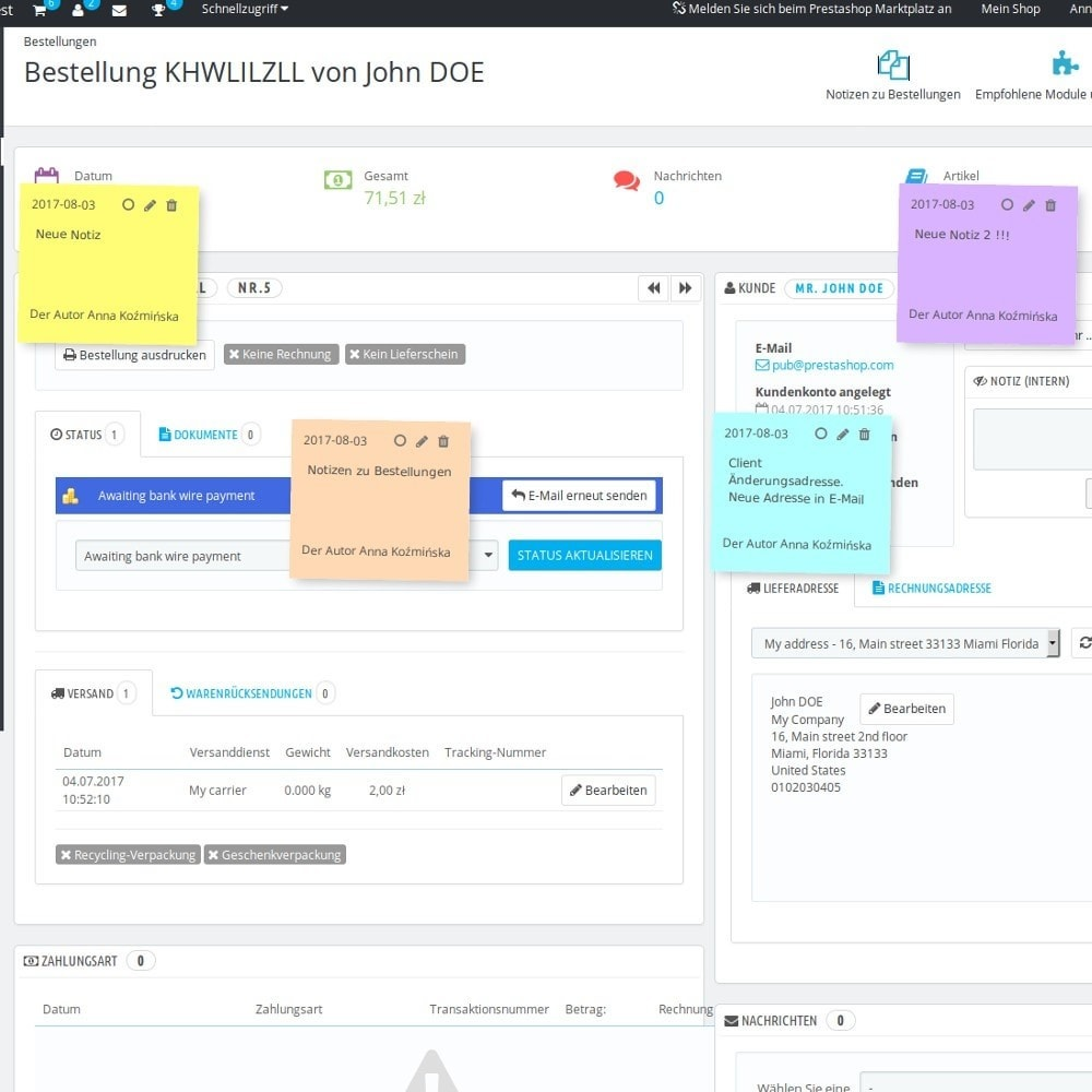 module - Auftragsabwicklung - Notizen zu Bestellungen - 3