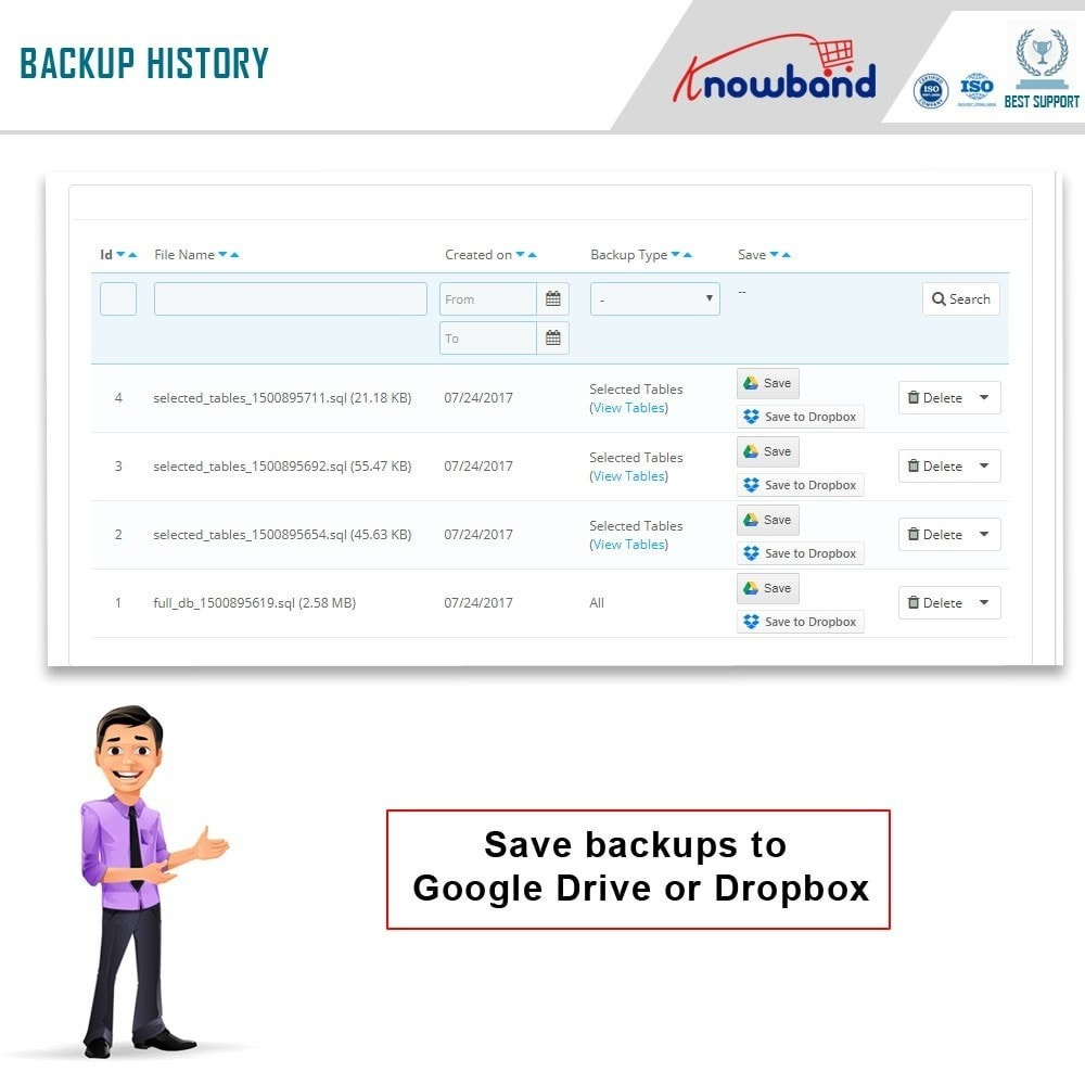 module - Data Migration & Backup - Knowband - EasyDB Backup Manager - 5