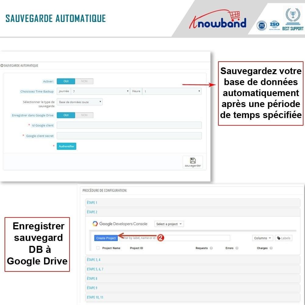 module - Migration de Données & Sauvegarde - Knowband - Gestionnaire de Sauvegarde facile de BDD - 3