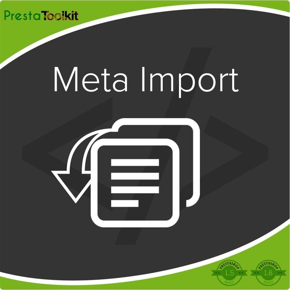 module - SEO (Posicionamiento en buscadores) - Meta de importación, Importar CSV - 1