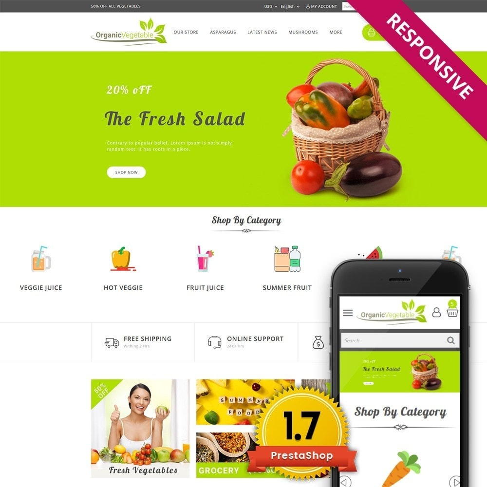 theme - Alimentos & Restaurantes - Organic Vegetable Store - 1