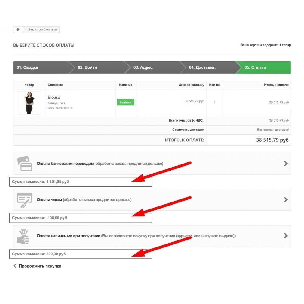 module - Оплата при доставке - Комиссии для способов оплаты - 2
