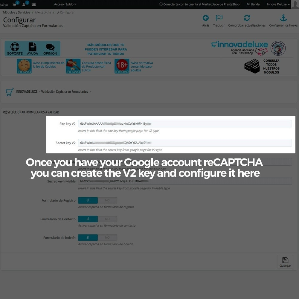 module - Security & Access - Add Google reCAPTCHA to store forms - 4