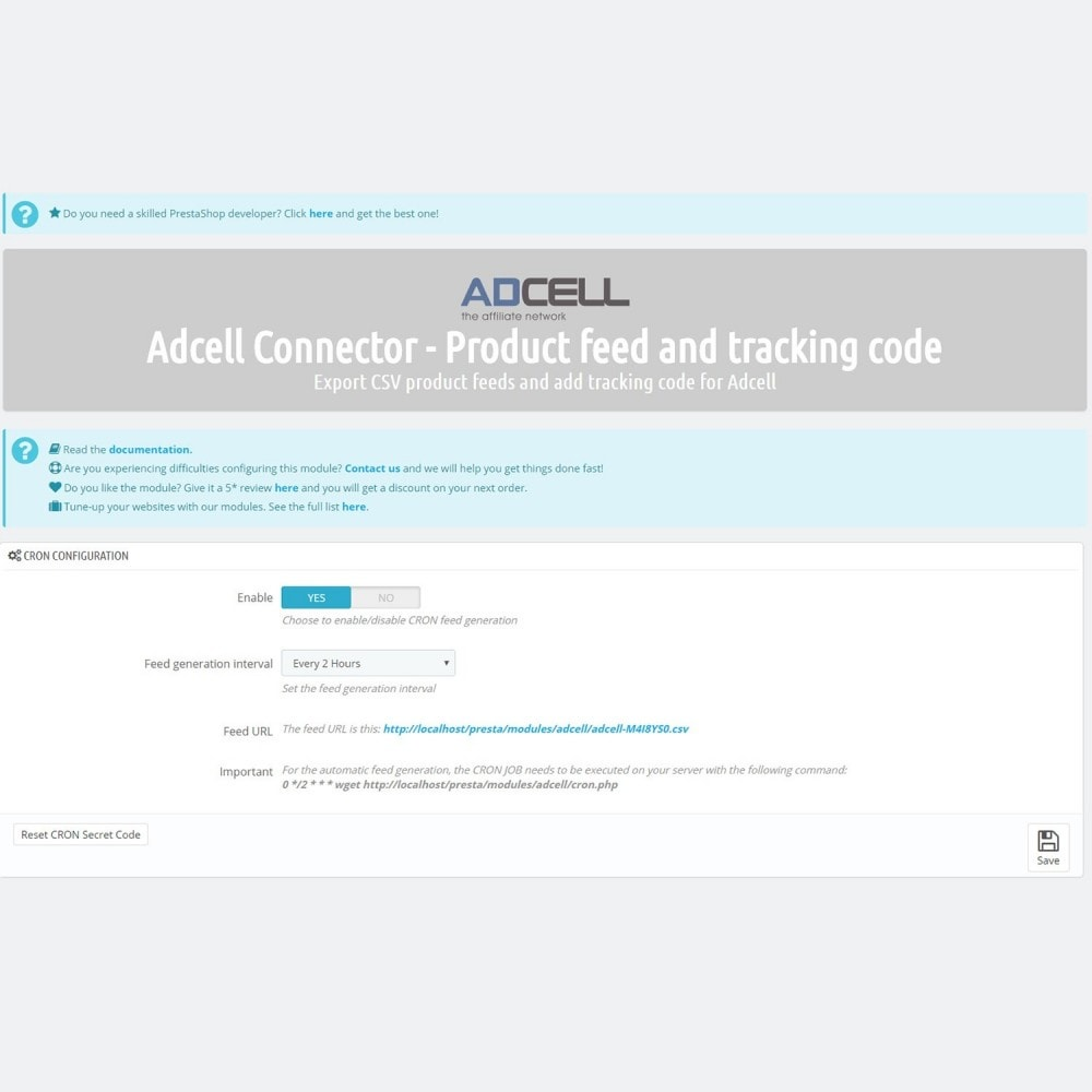 module - Соединение с внешней программой (CRM, ERP...) - Adcell Connector - Product feed and tracking code - 4