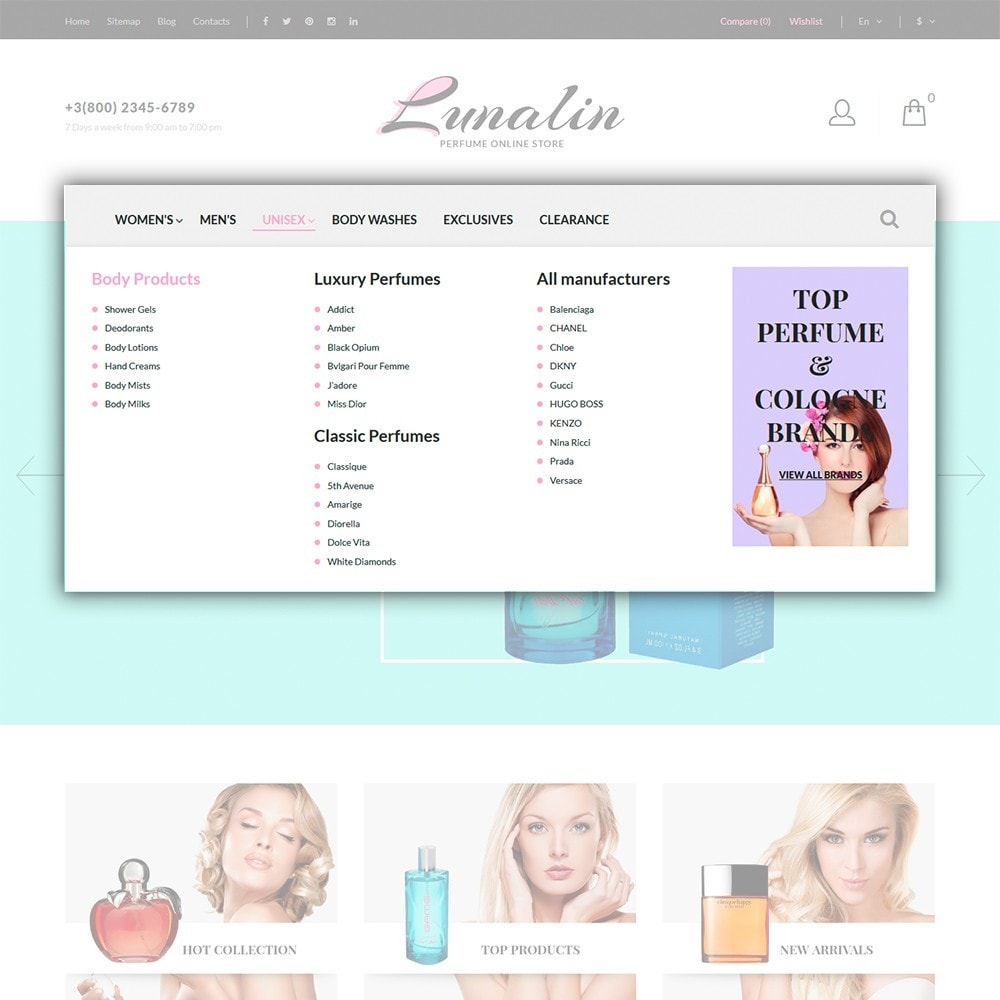 theme - Мода и обувь - Lunalin - шаблон на тему магазин косметики - 4