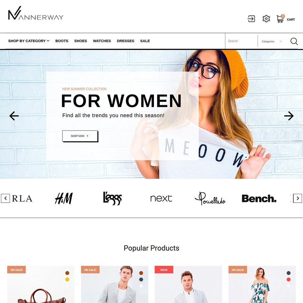 theme - Mode & Schuhe - Mannerway - Clothes & Accessories PrestaShop Theme - 2