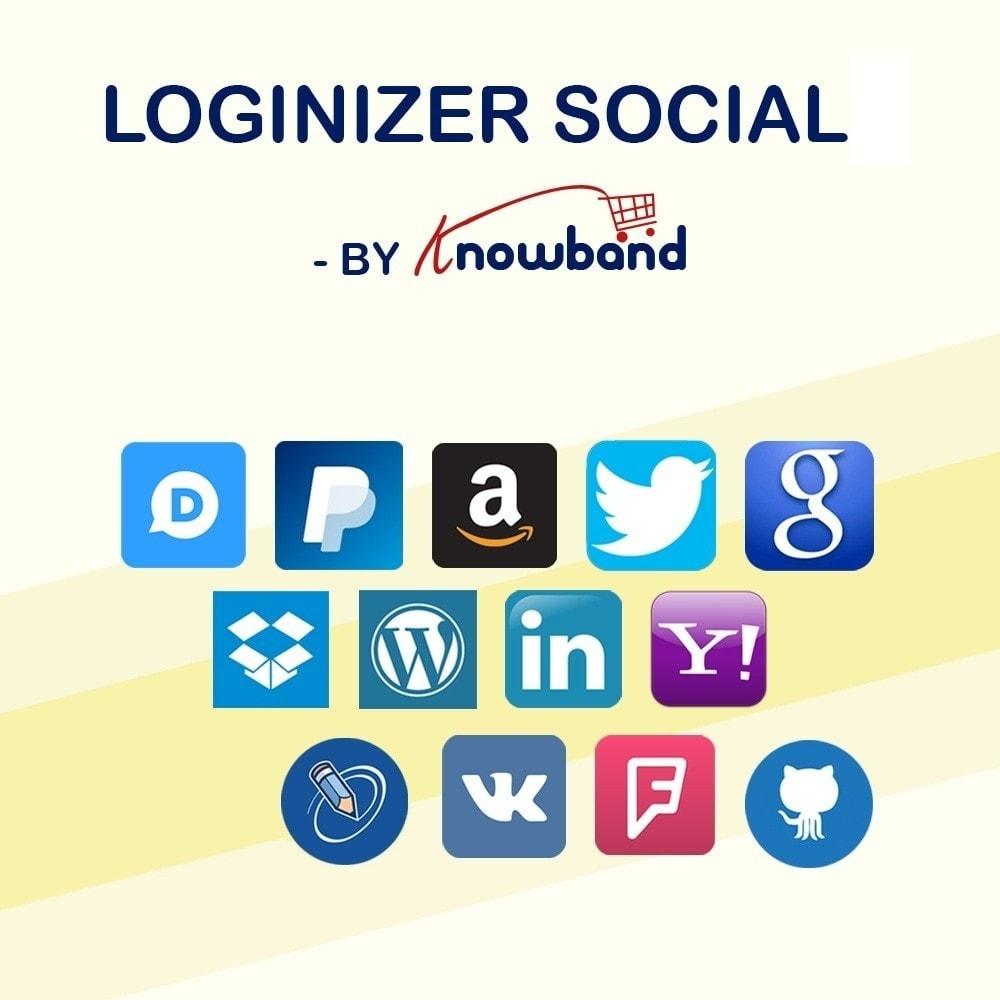 module - Botones de inicio de Sesión/Conexión - Knowband-Acceso Social 14 in 1,Estadísticas & MailChimp - 1
