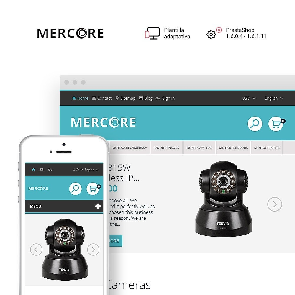 theme - Electrónica e High Tech - Mercore - Tema de PrestaShop para Sitio de Seguridad - 1