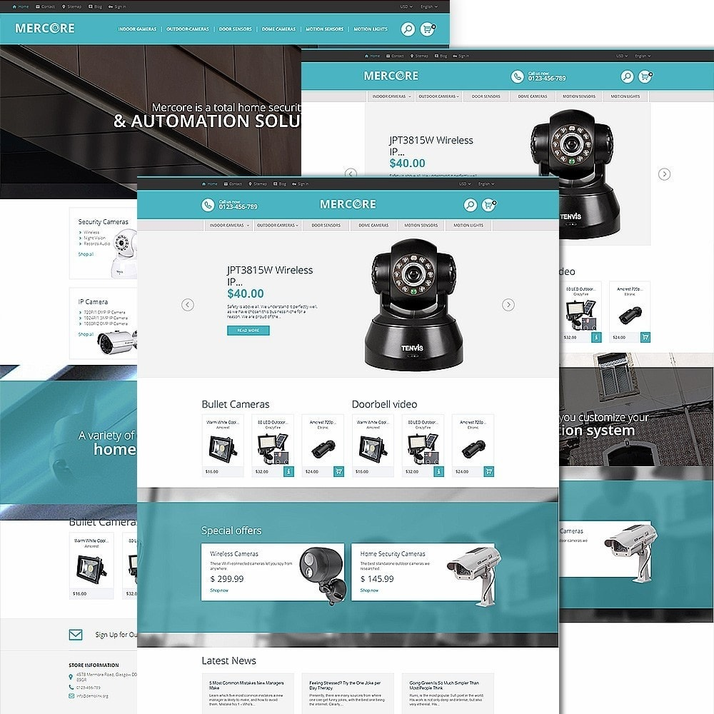 theme - Electrónica e High Tech - Mercore - Tema de PrestaShop para Sitio de Seguridad - 2