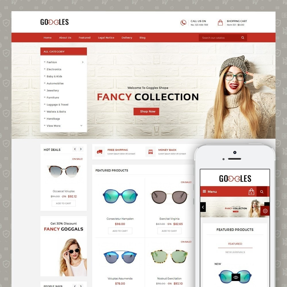 theme - Fashion & Shoes - Goggles Shop - 1